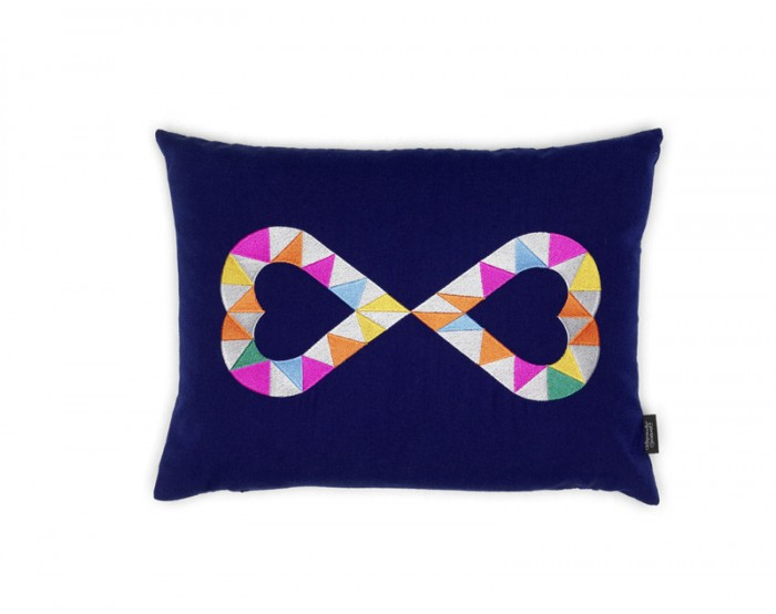 Embroidered Pillows - Double Heart 2, azul
