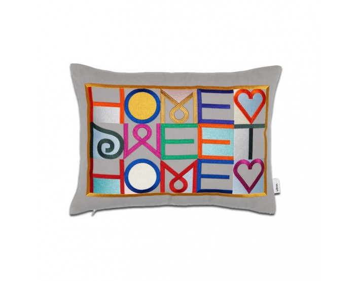 Embroidered Pillows - Home Sweet Home, gris claro